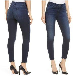 Frame Le Skinny Dark Wash Chew Hem Ankle Jeans 27